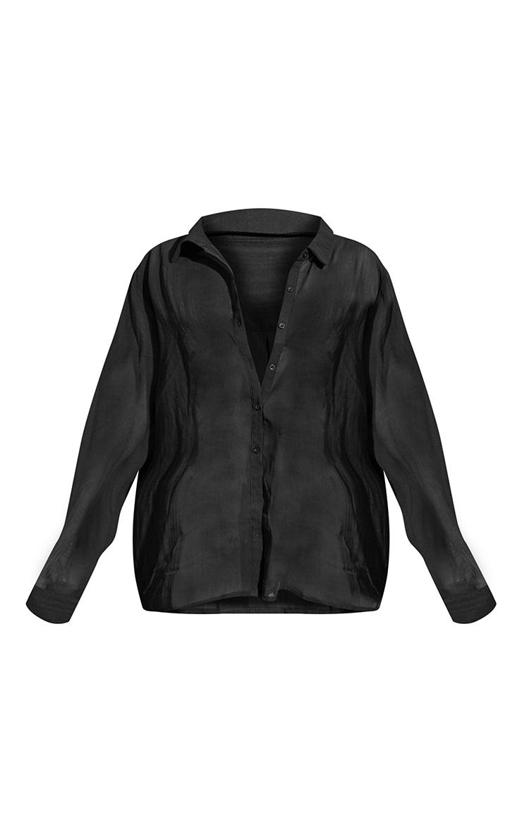 Black Textured Stripe Woven Oversized Shirt 5