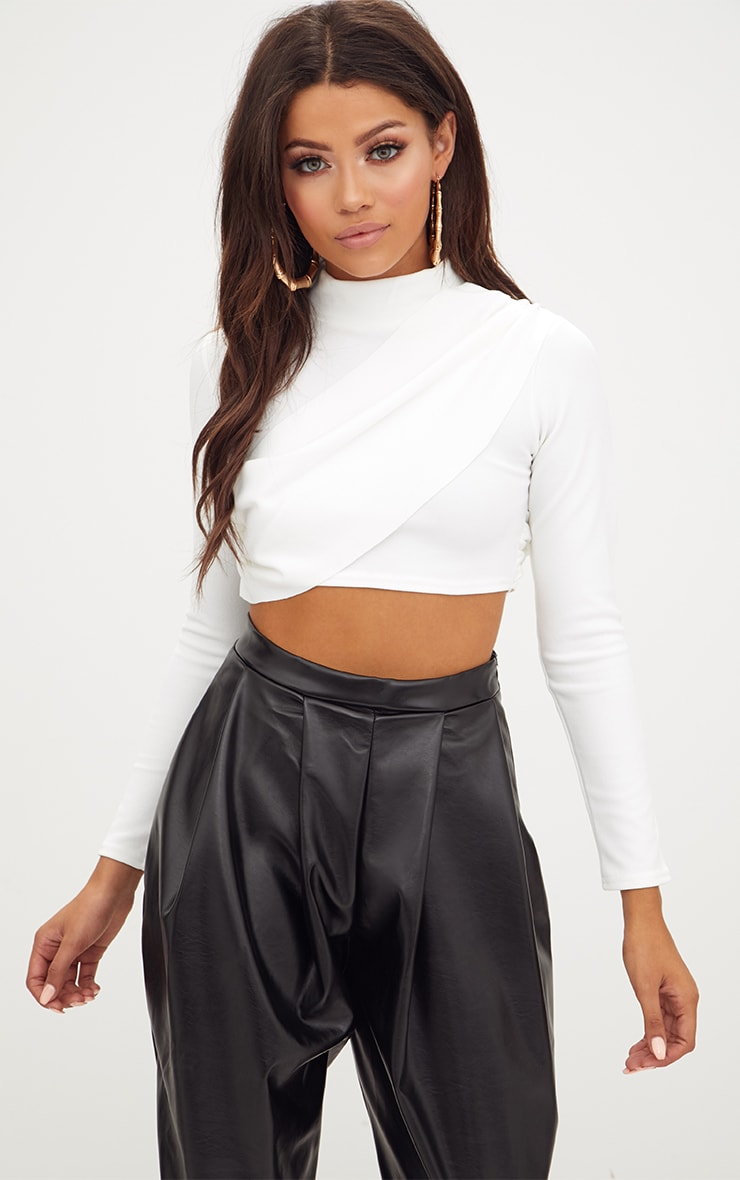 6282e0a1389ac White Crepe Wrap Front Longsleeve Crop Top image 1