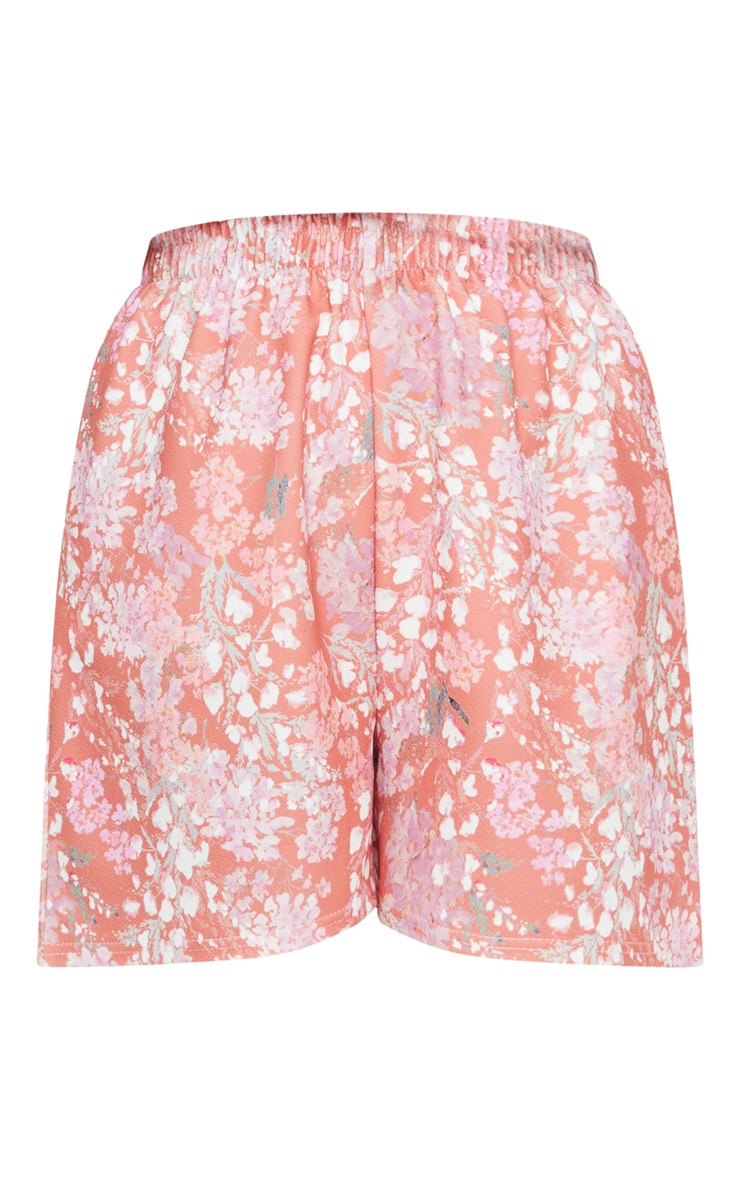 Pink Ditsy Floral Print Oversized Floaty Shorts 6