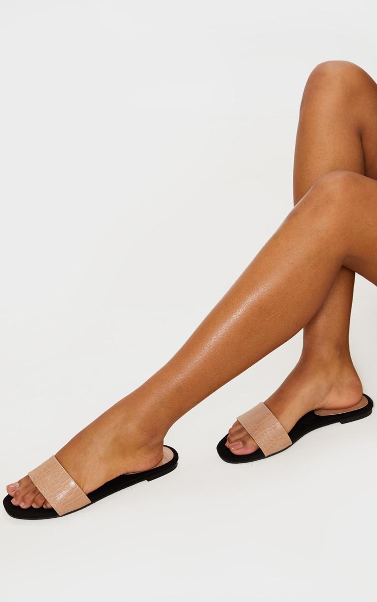 Nude Single Strap Mule Sandals 1