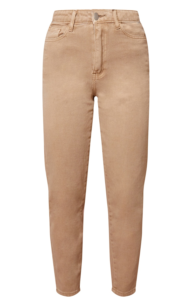 PRETTYLITTLETHING Tan Mom Jeans 5