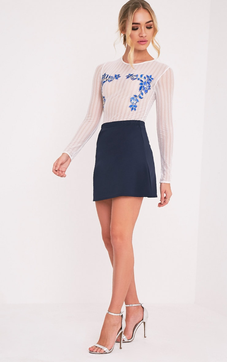 Jessica Navy A-Line Mini Skirt 6