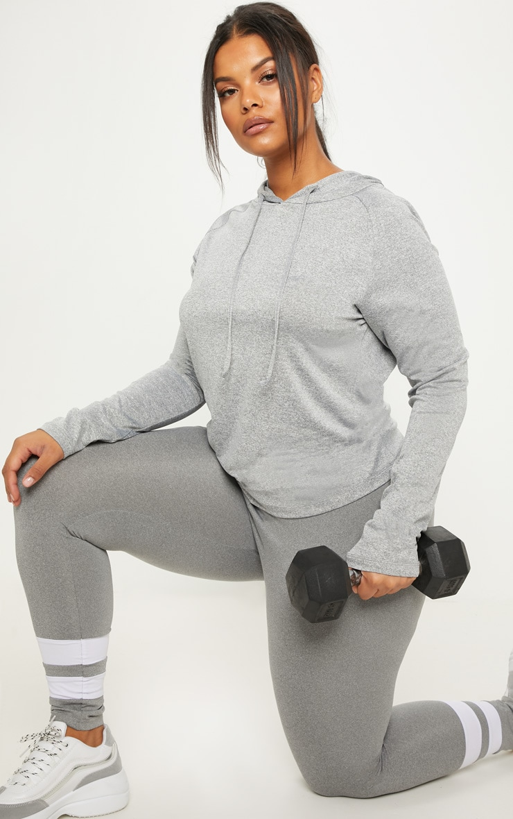 Plus Grey Marl Long Sleeve Hooded Gym Top 4