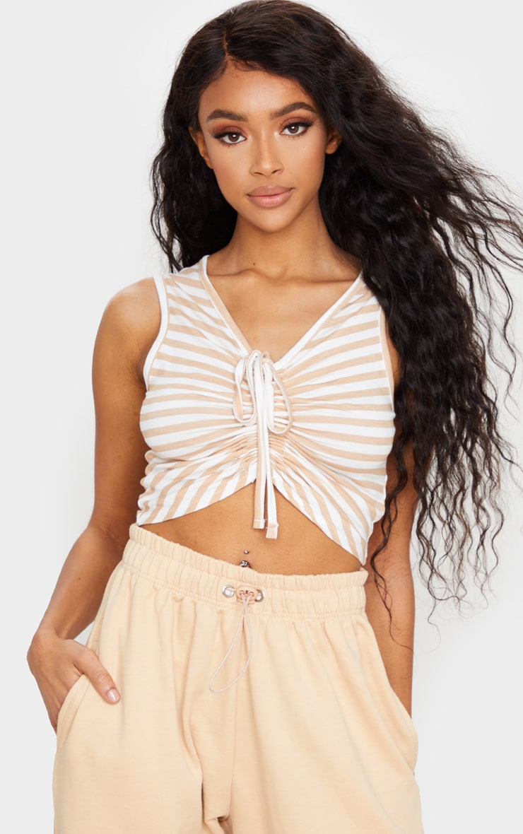 Tan Jersey Stripe Ruched Front Crop Top 1