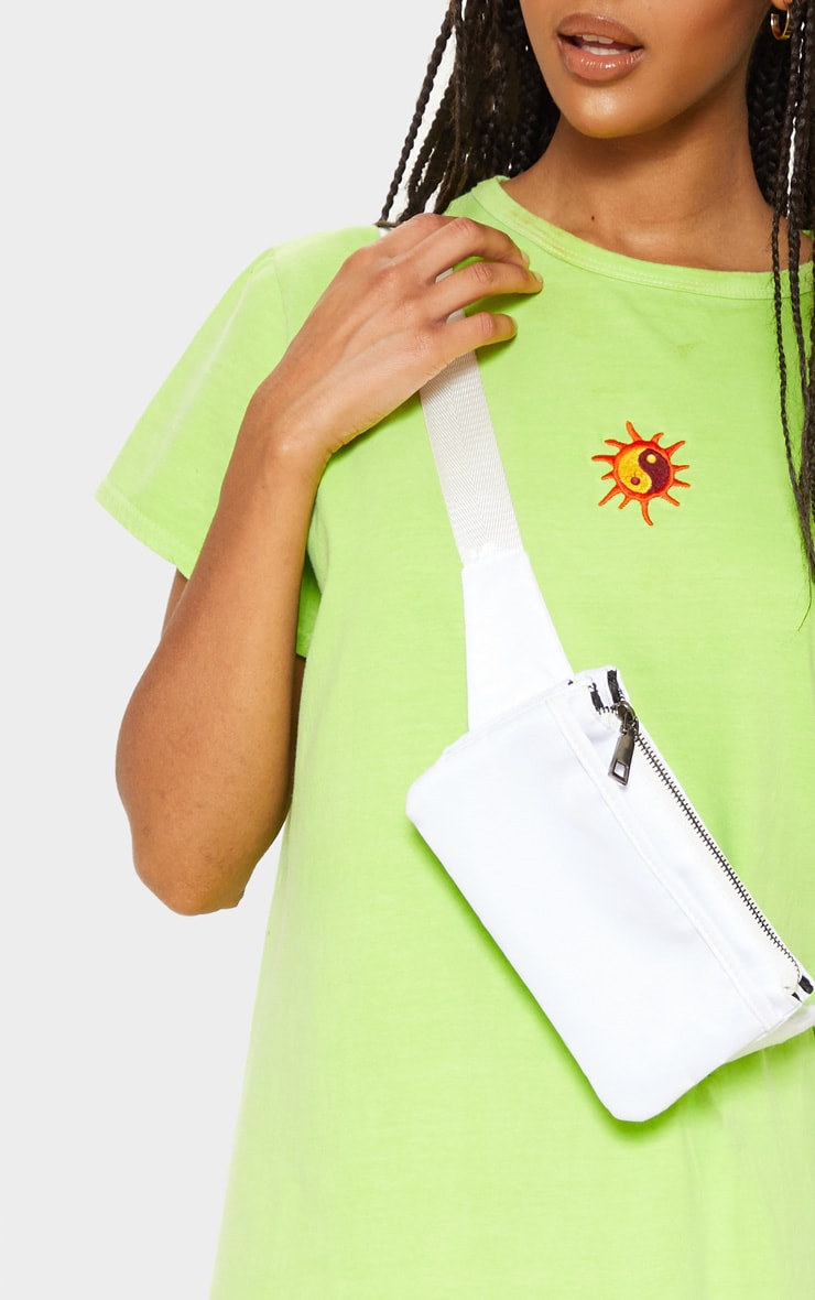 Lime Sun Embroidered Oversized T Shirt Midi Dress 5