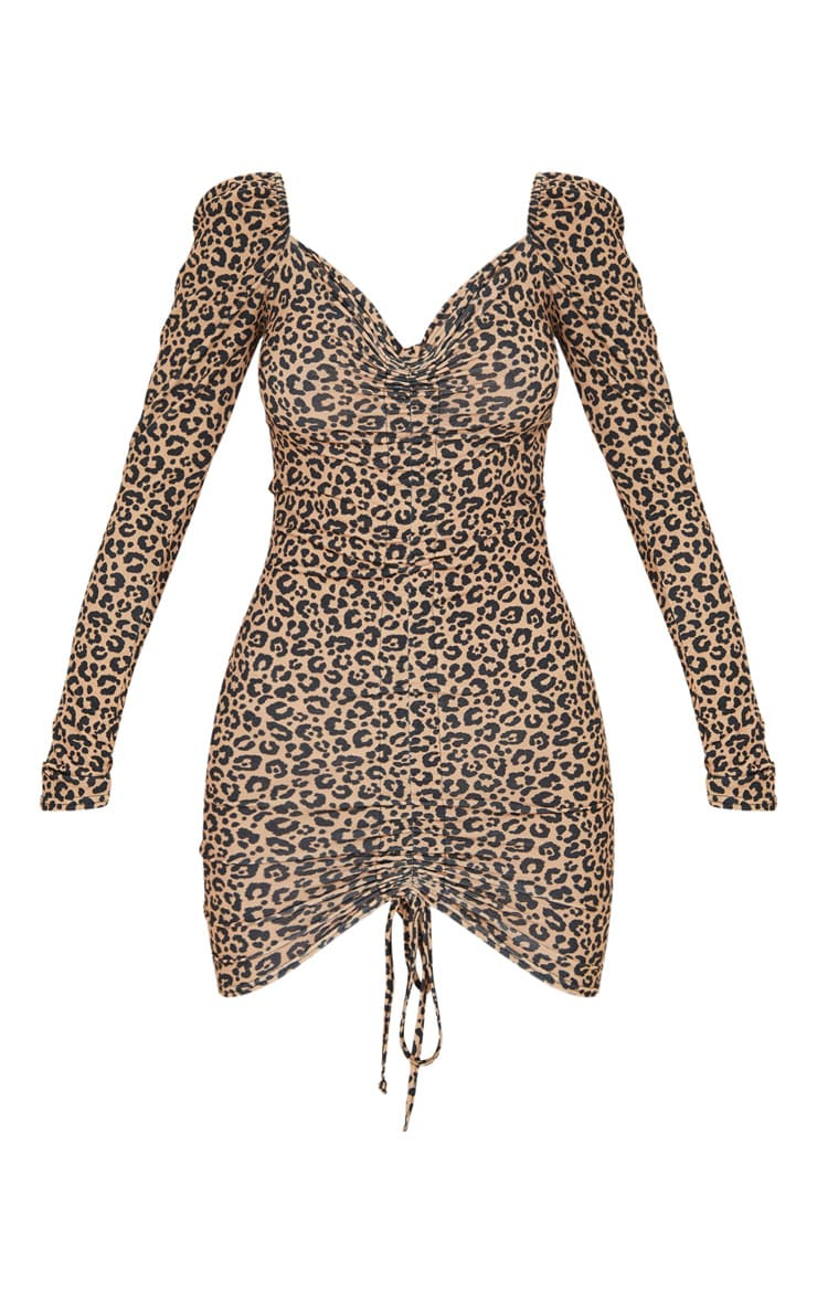 Brown Leopard Ruched Front Long Sleeve Bodycon Dress 3