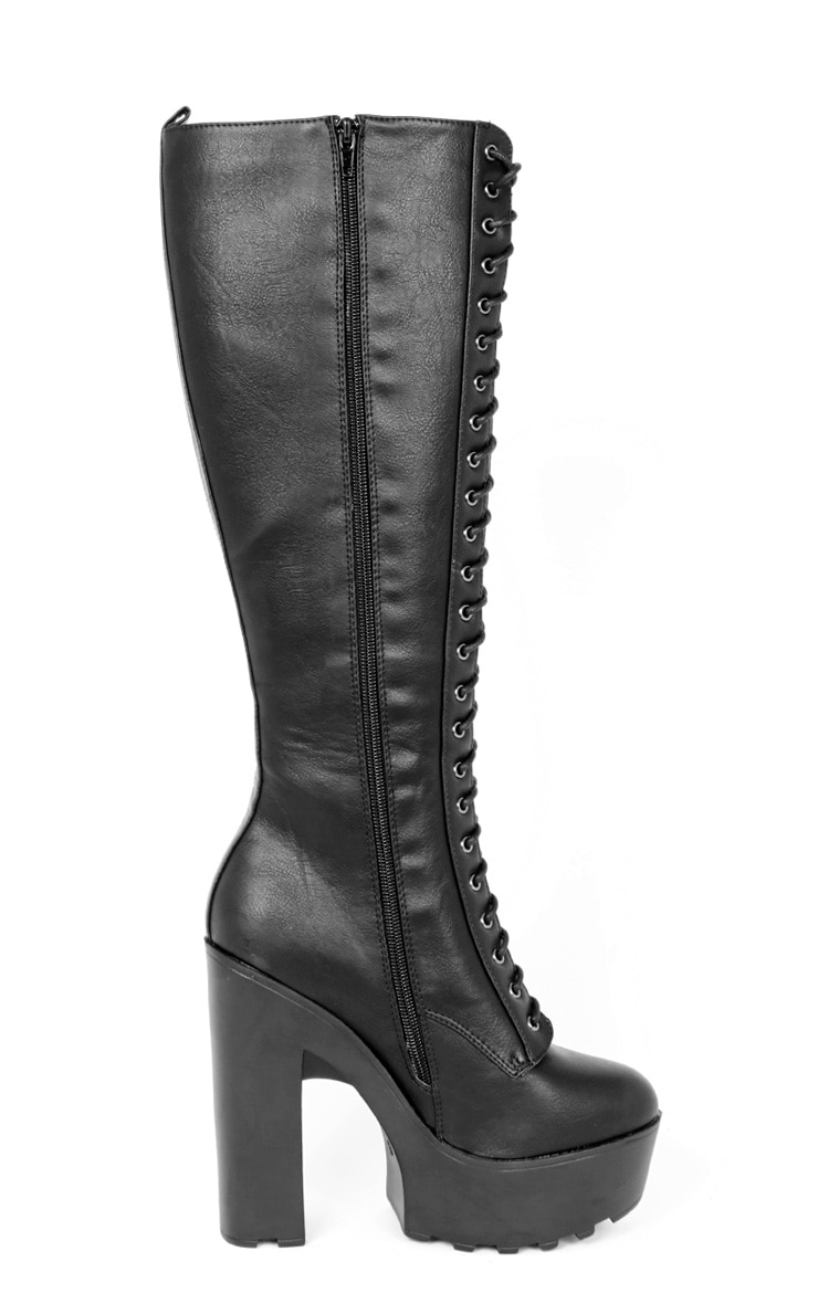 Glenys Black Lace Up Cleated Platform Boot  2