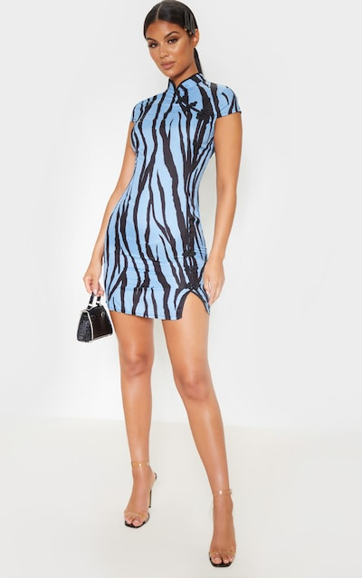 Blue Zebra Oriental Bodycon Dress