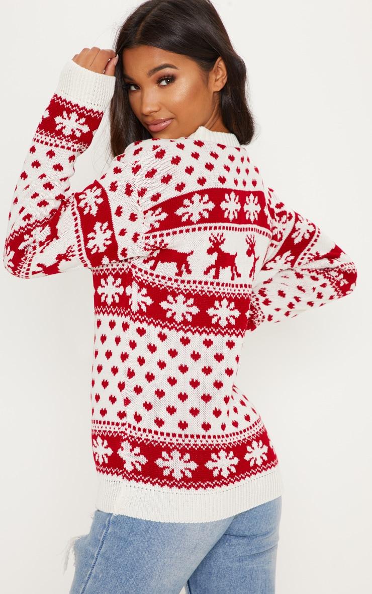 White Fairisle Knitted Sweater 2