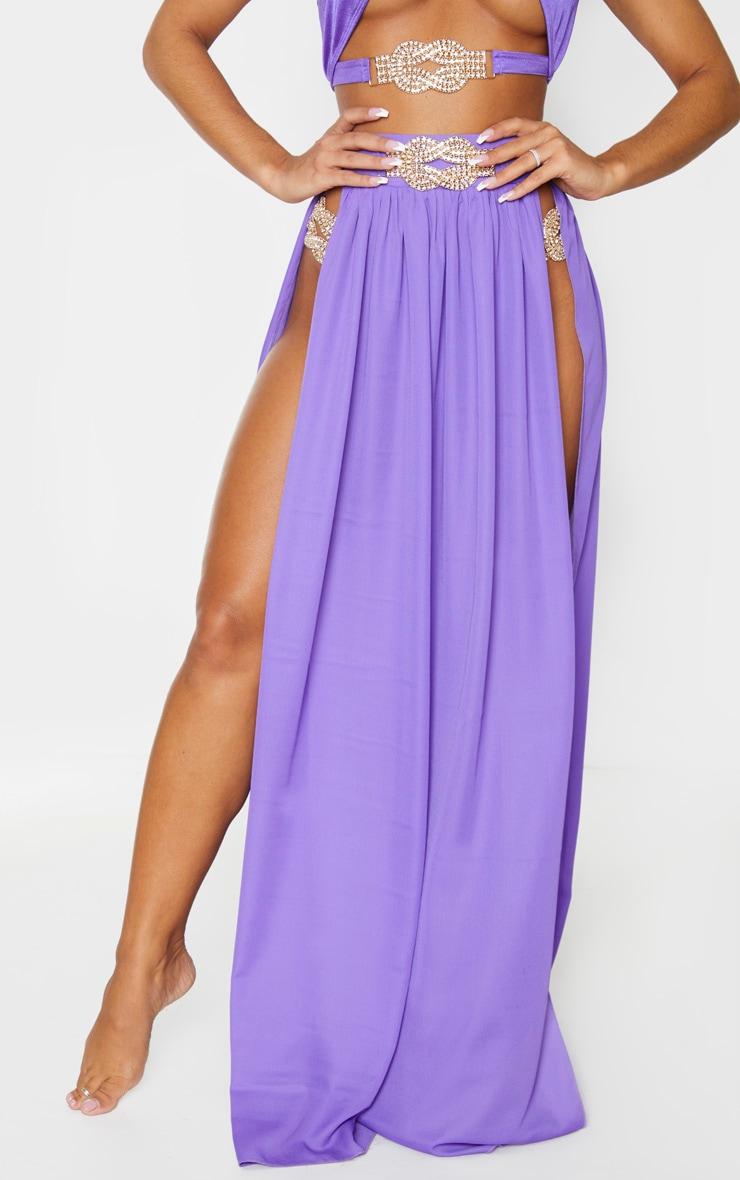 Purple Chiffon Diamante Jewel Beach Skirt 2