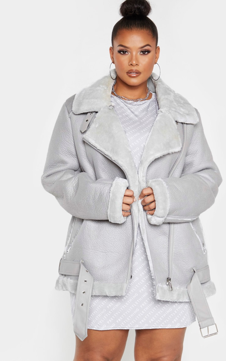 Plus Grey Oversized PU Aviator 1
