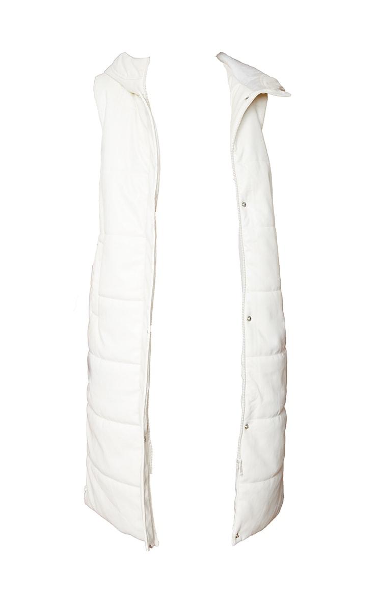 Cream Faux Leather Hooded Midi Gilet 5