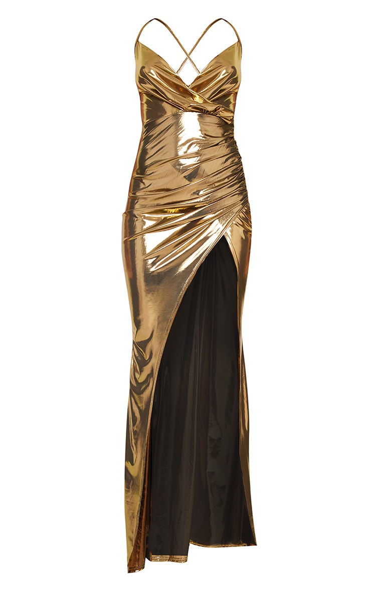 Gold Metallic Ruched Back Extreme Split Maxi Dress 3