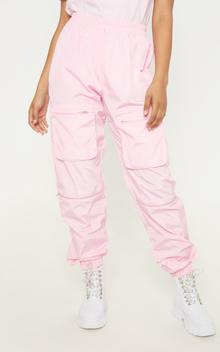 Tall Baby Pink Cargo Zip Pocket Detail Trousers 2