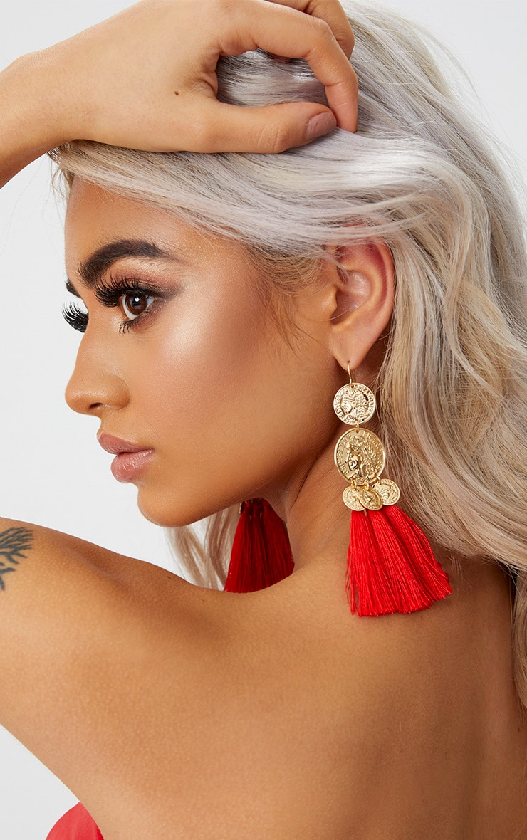 Red Coin Drop Tassel Earrings 2