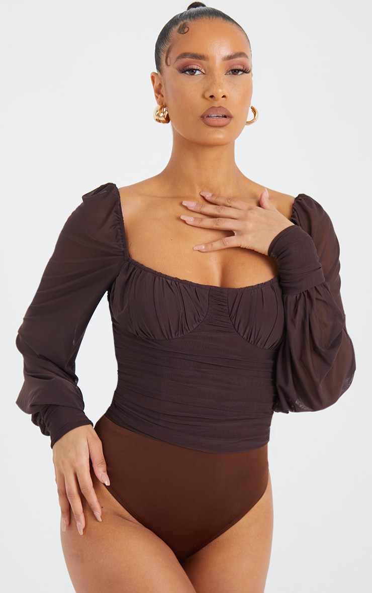 Chocolate Mesh Ruched Detail Long Sleeve Bodysuit 2