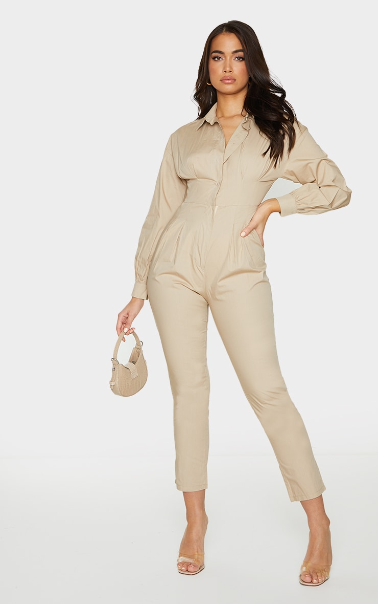 Stone Fitted Waist Shirt Jumpsuit 1