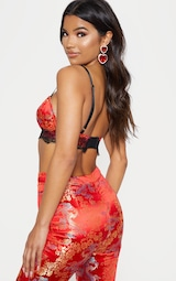 Red Oriental Jacquard Lace Trim Bralet 3