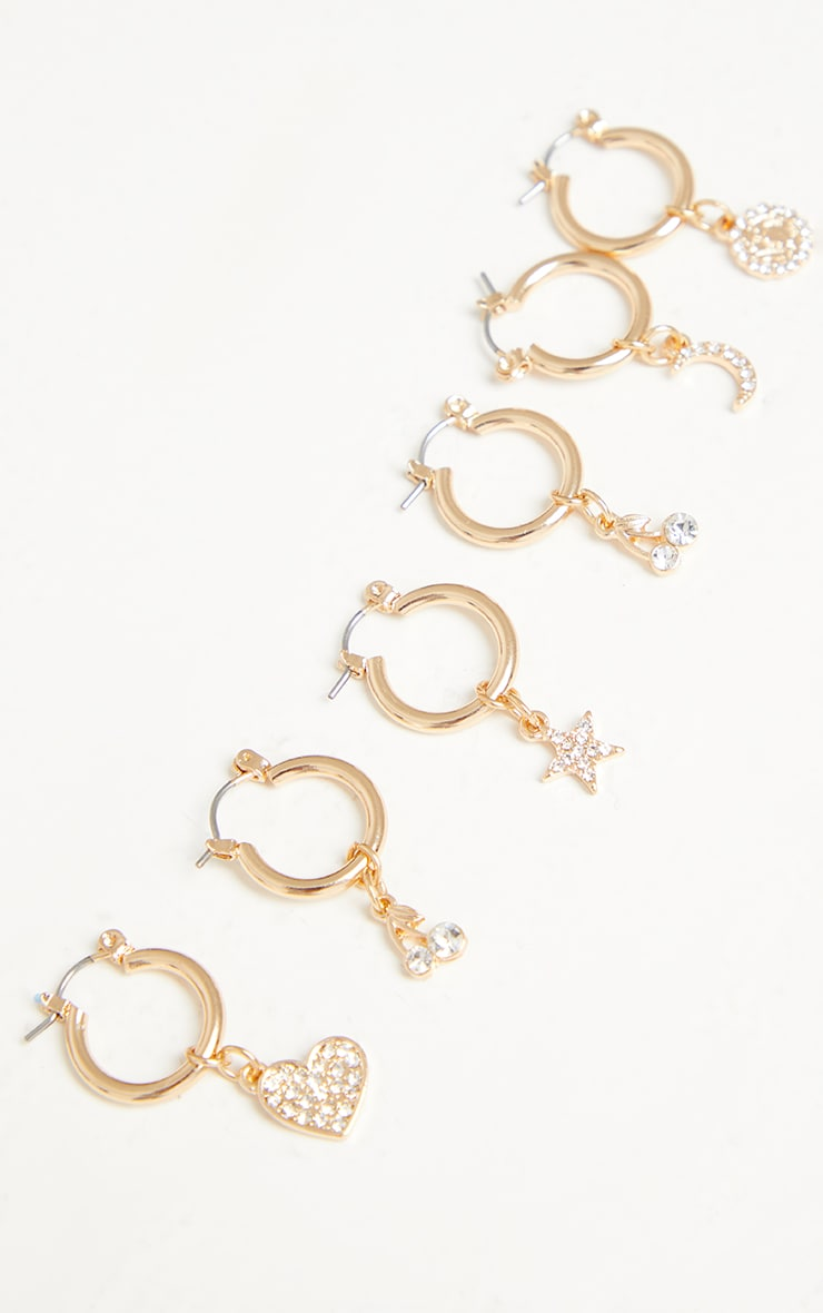 Gold Mini Diamante Motif Multi Pack Hoop Earrings 1