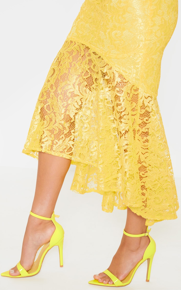 Bright Yellow Lace High Neck Fishtail Midaxi Dress 5