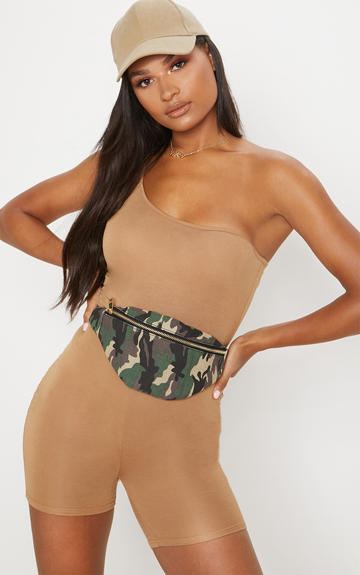 Camel Jersey One Shoulder Strappy Unitard 1