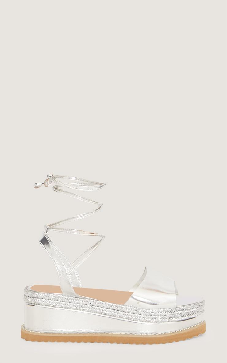 Sandales espadrilles argentées à talon plateforme 3