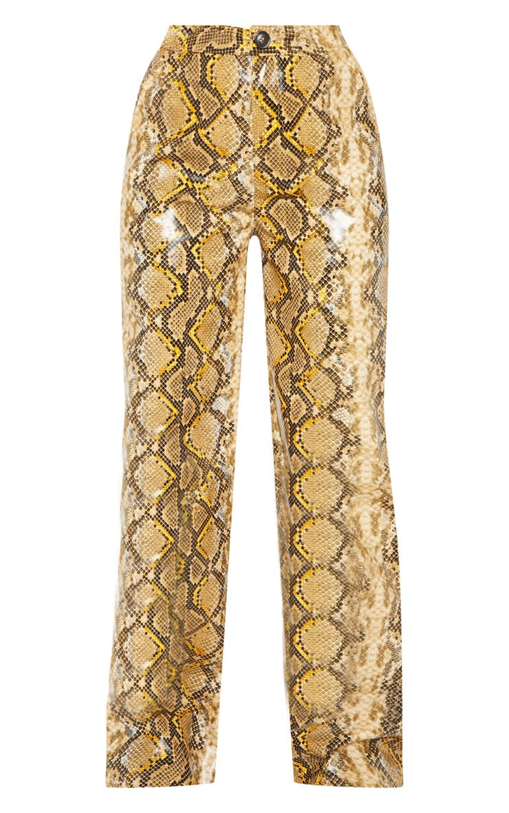 Yellow Faux Leather Snake Print Wide Leg Pants  3