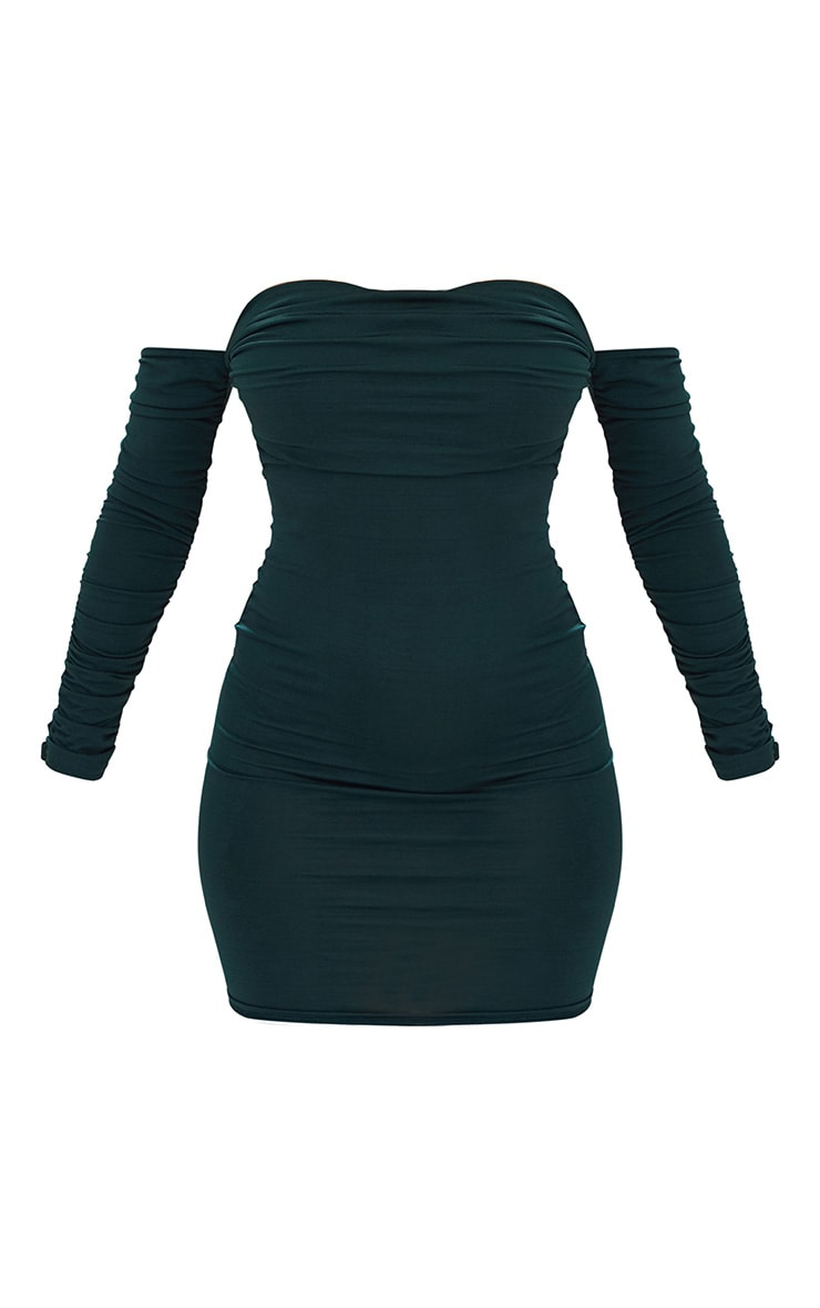 Emerald Green Ruched Front Ruched Arm Bardot Bodycon Dress 4