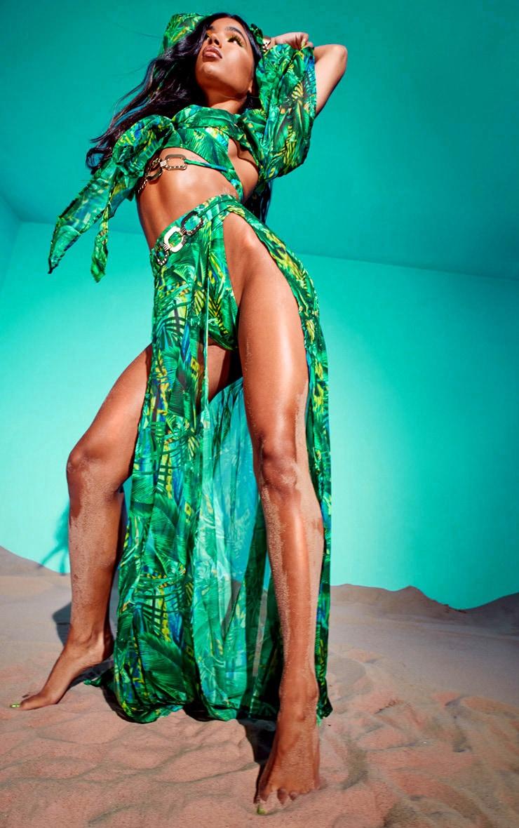 Green Tropical Gold Trim Split Front Beach Skirt 6