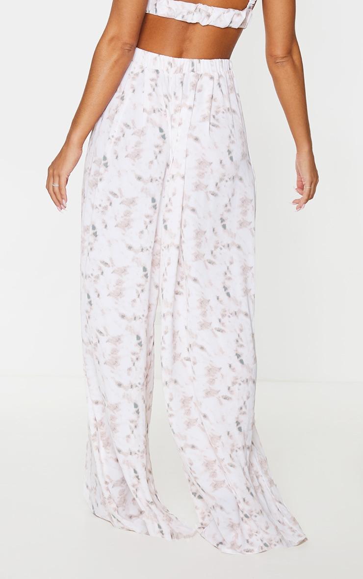 Light Pink Tie Dye Print Wide Leg Trousers 3