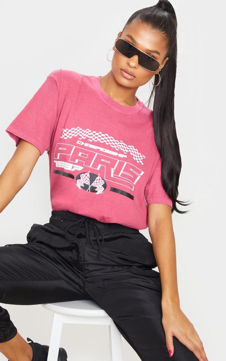 Tee-shirt rose à slogan Paris 1987 1