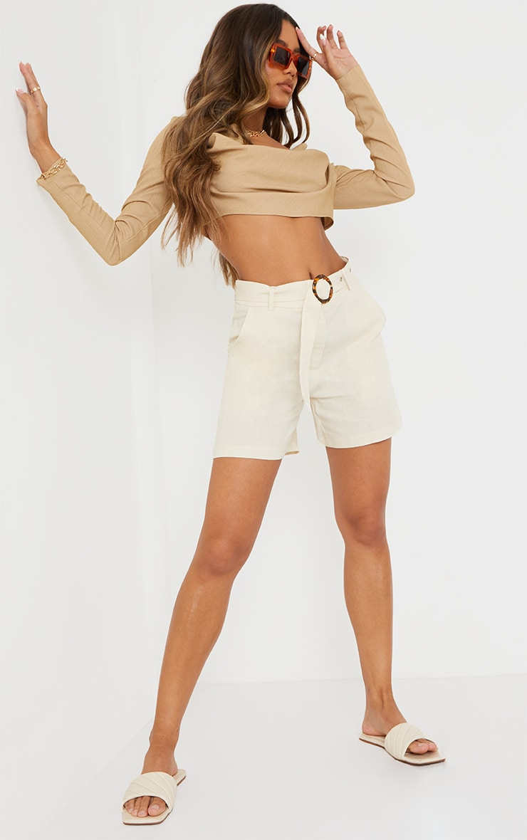 Stone Linen Belted Shorts