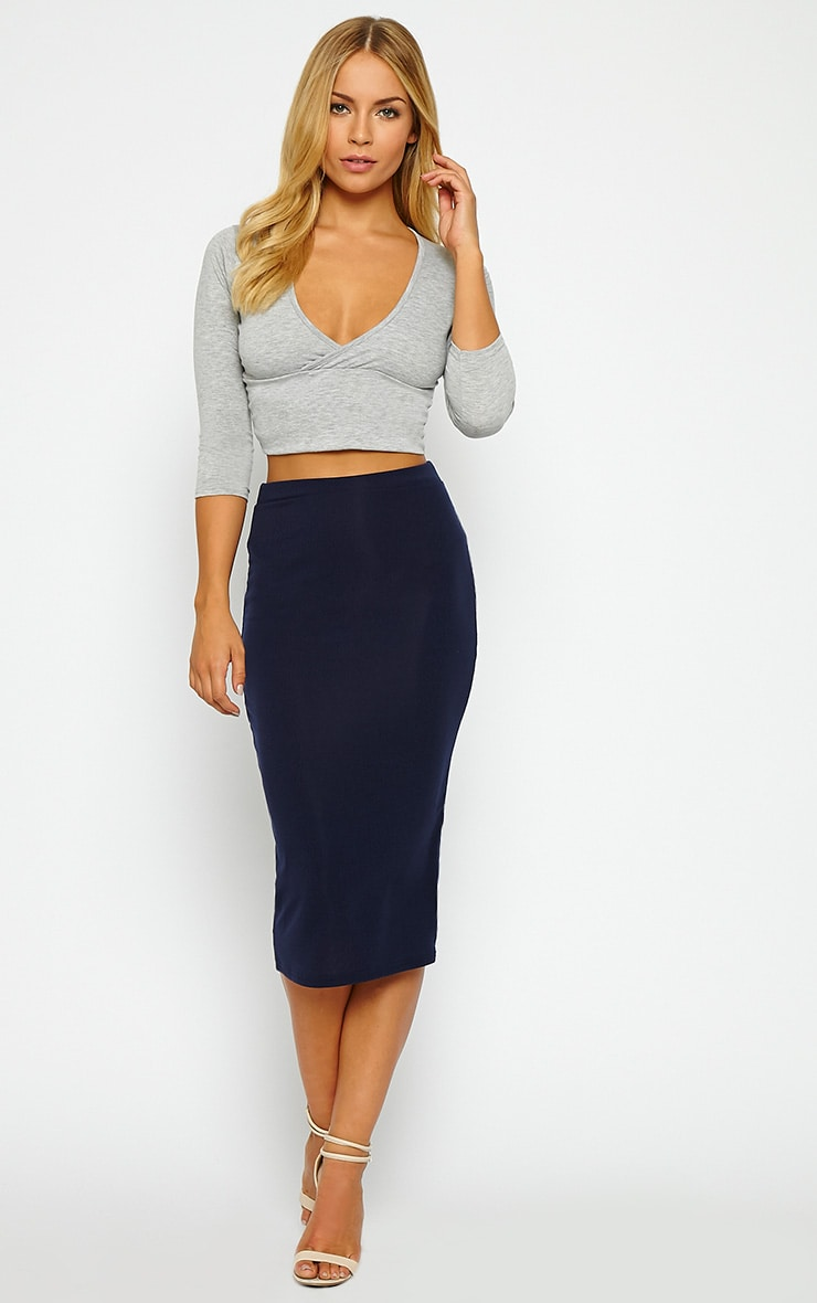Basic Navy Ribbed Midi Skirt 1