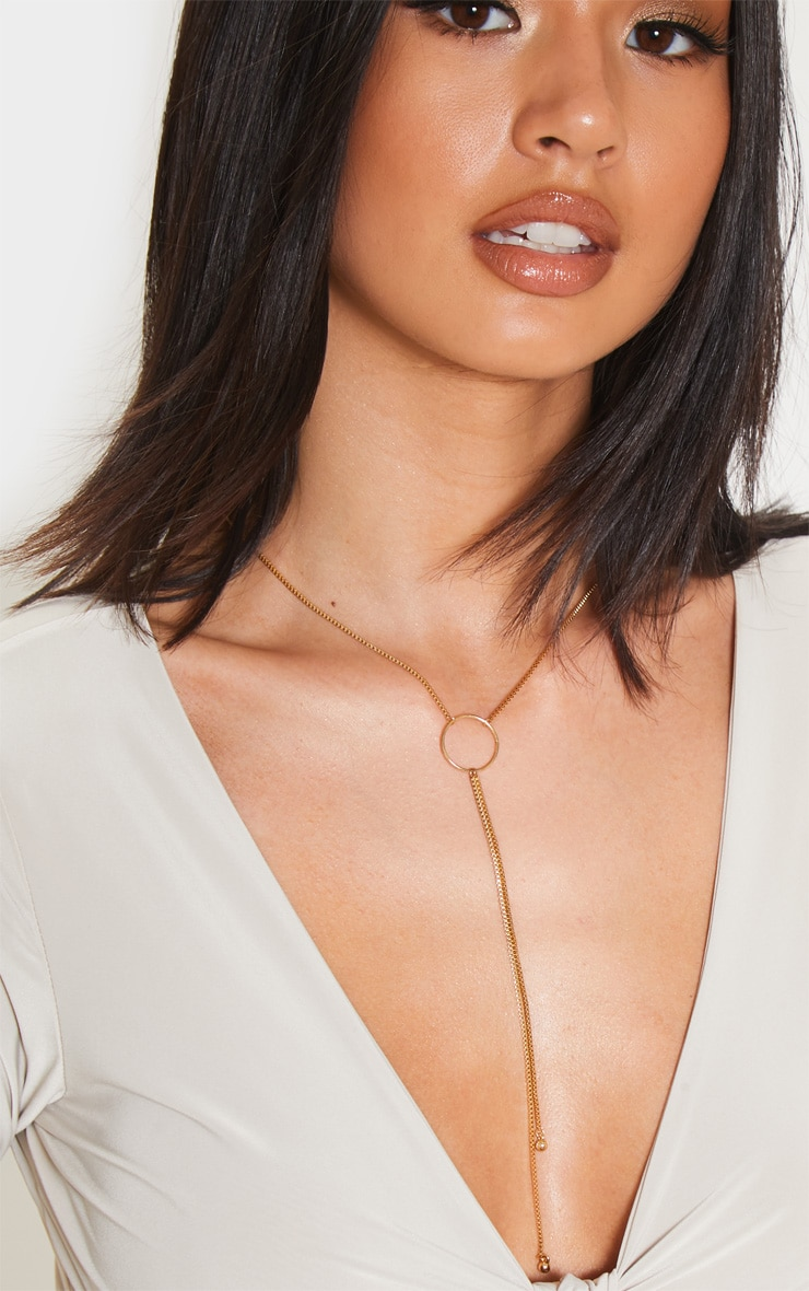 Gold Hoop Chain Drop Lariat Necklace  1