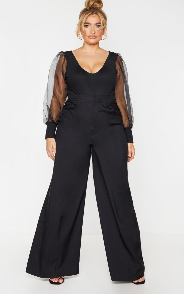 Plus Black Rib Organza Puff Sleeve Bodysuit 3