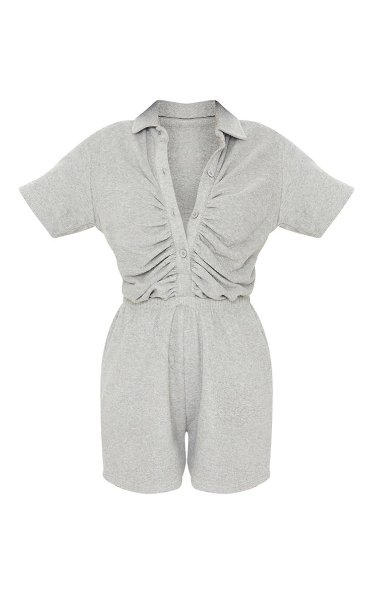 Grey Towelling Short Sleeve Ruched Button Playsuit 5