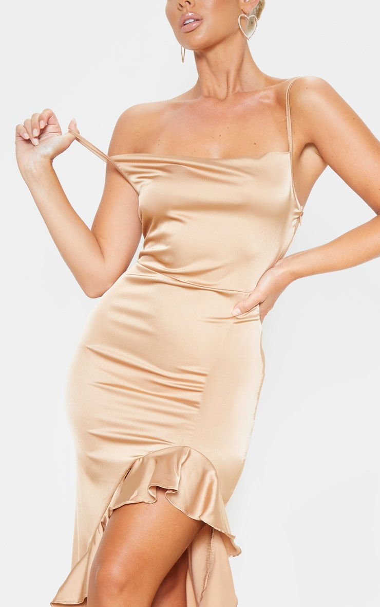 Gold Cowl Neck Frill Hem Maxi Dress 5
