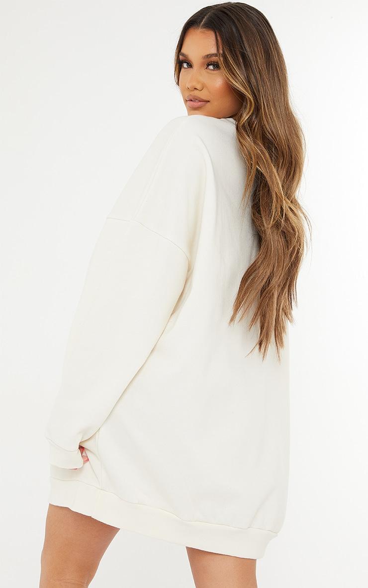 Cream Contrast Block Face Illustration Sweatshirt Dress 2