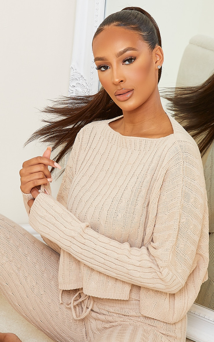 Stone Cable Knit Crop Jumper & Legging Set 4