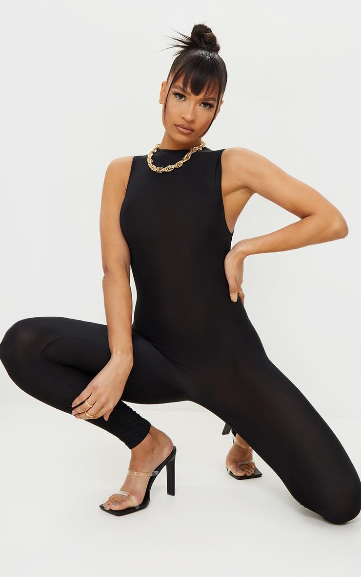Black High Neck Sleeveless Jumpsuit 1