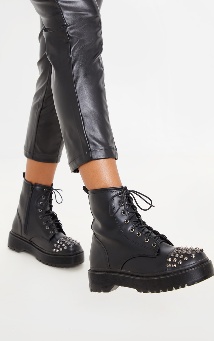 Black Stud Toecap Chunky Lace Up Boot 1
