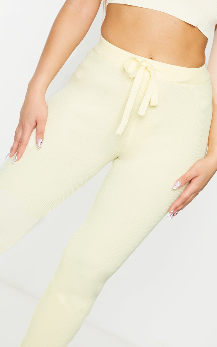 Lemon Ribbed Knitted Tie Waist Joggers 4