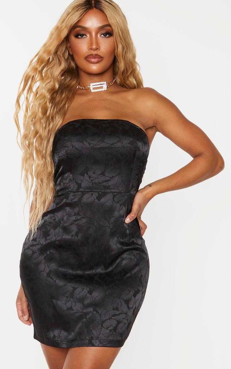 Shape Black Printed Satin Bandeau Bodycon Dress 3