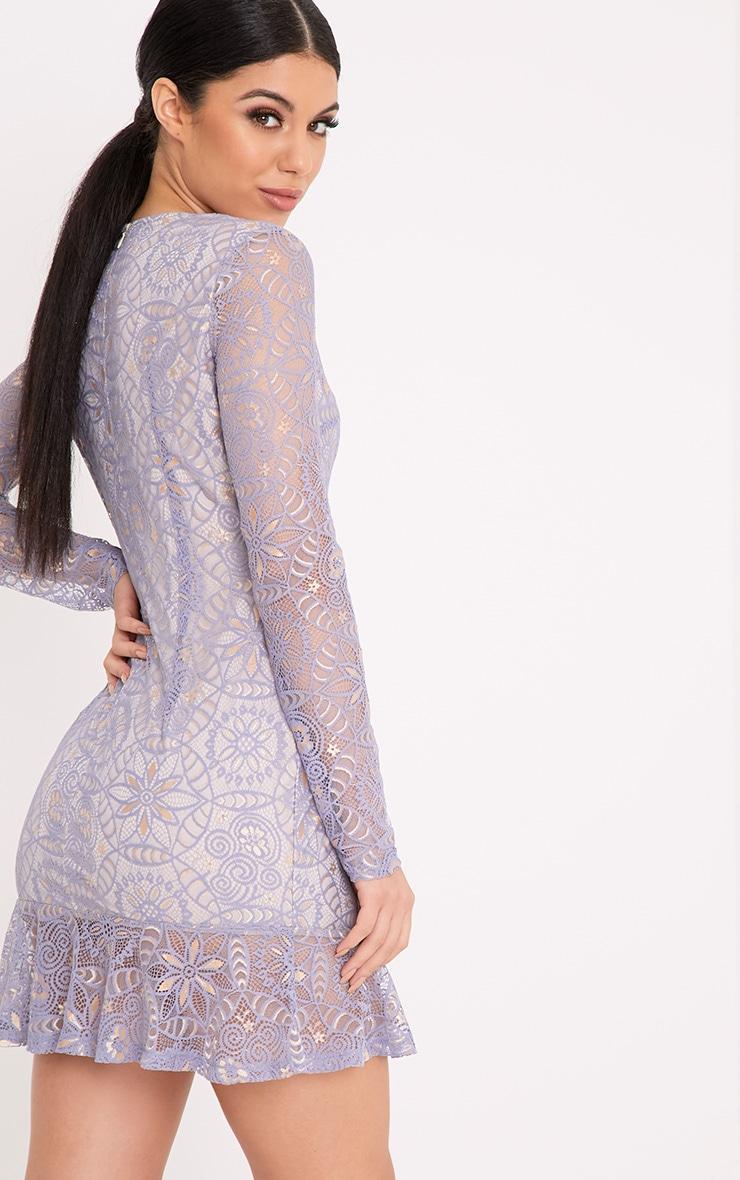 Viktoriah Lilac Lace Frill Hem Bodycon Dress