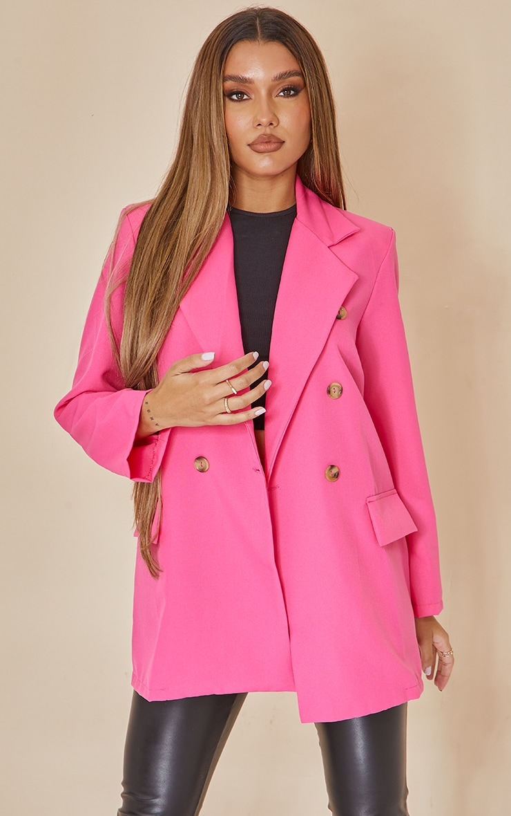 Hot Pink Shoulder Padded Double Breasted Blazer 1
