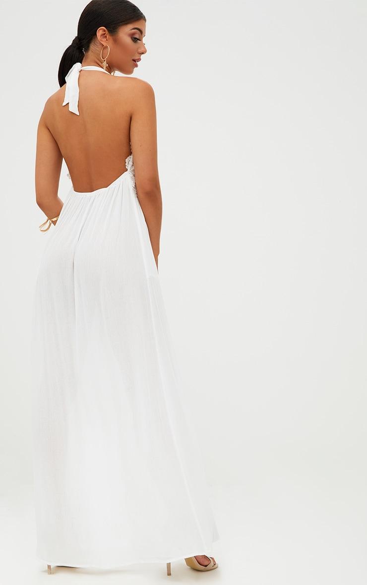 White Cheesecloth Crochet Trim Maxi Dress 2