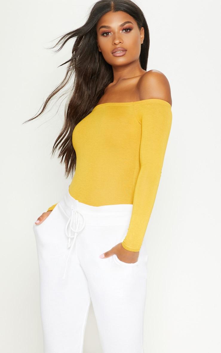 Basic Mustard Bardot Bodysuit 2