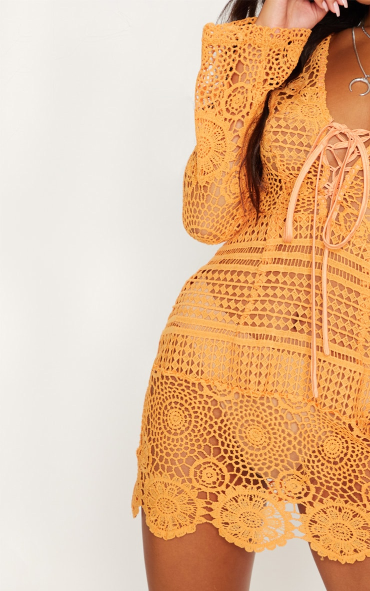 Tangerine Tie Front Flare Sleeve Crochet Lace Bodycon Dress 5