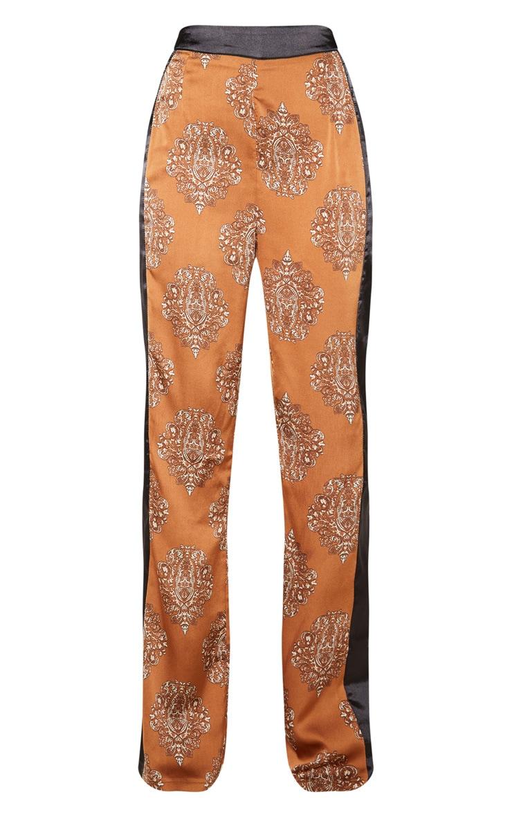 Rust Satin Paisley Print Contrast Stripe Wide Leg Trouser 3