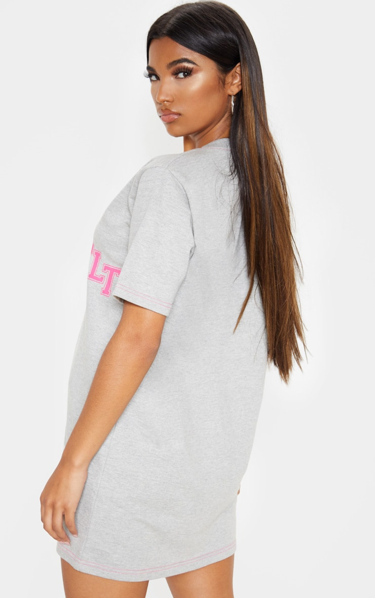 PRETTYLITTLETHING Grey Slogan Contrast Oversized Sweat Baseball T Shirt Dress 2